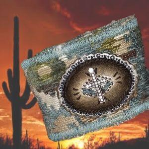 Sale! Aztec Southwest Concho Cross Bracelet Woven
